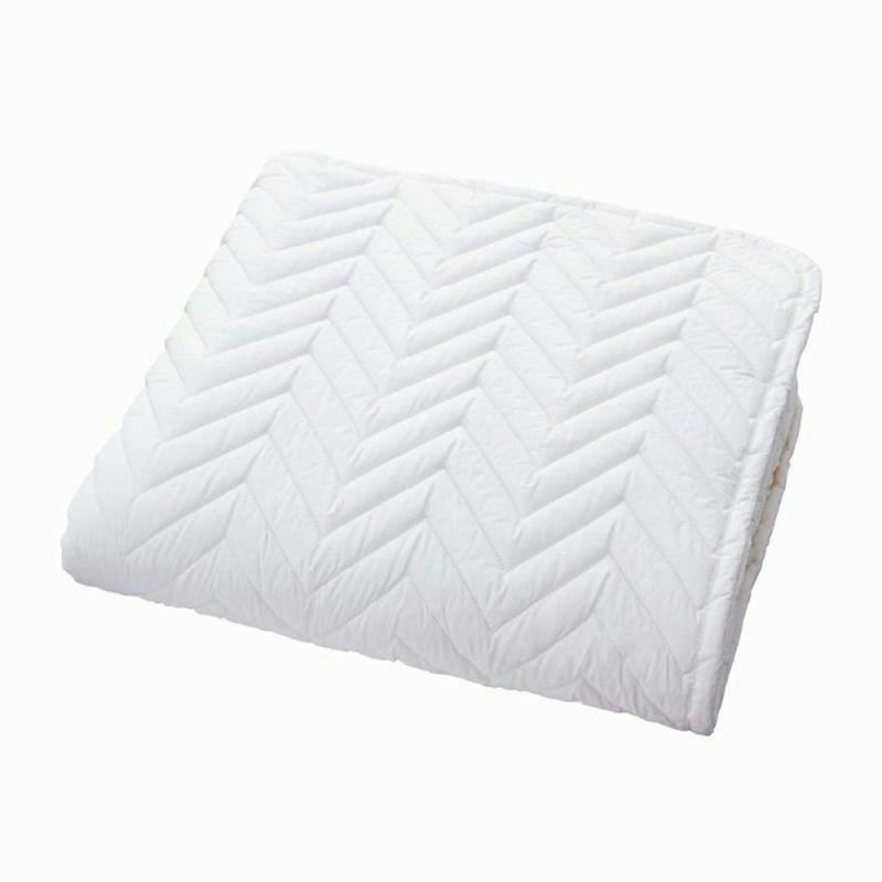 [スヤラボ]ポリエステルベッドパッド(SU3918)/クイーン ホワイト