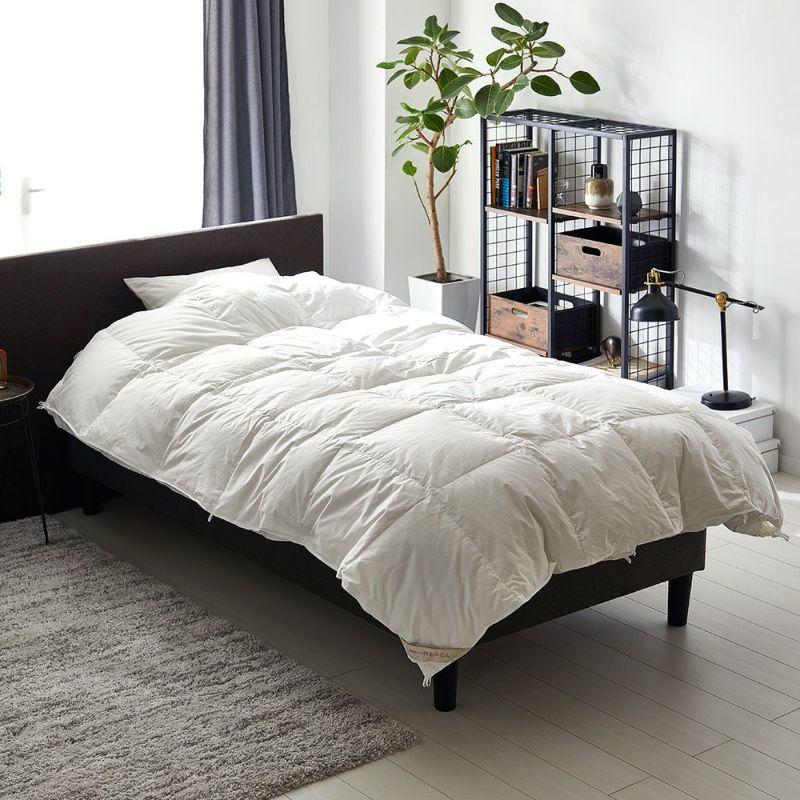 2枚合わせ羽毛布団 ハンガリー産ホワイトグース90% 0.9kg+0.3kg シングルEC60 ホワイト