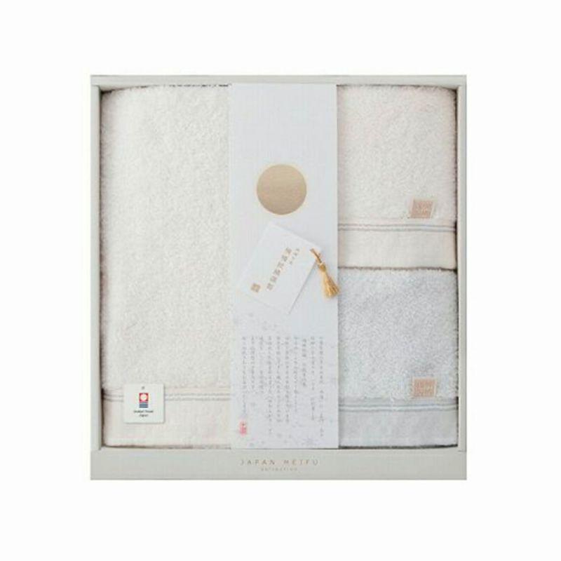 [楠橋紋織謹製 天の川] バスタオル1枚・フェイスタオル2枚セット ホワイト