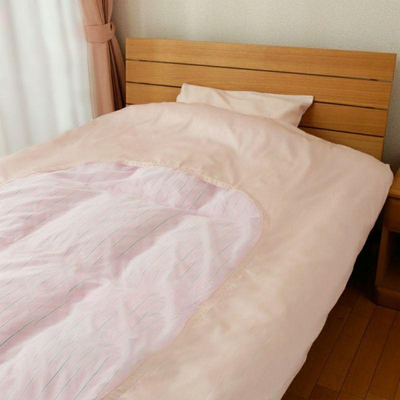 [スヤラボ]紗付き掛け布団カバー/デイリーサテンイージーケア 140×190cm ピンク・ベージュ・ブルー・グリーン・ホワイト
