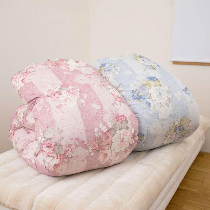羽毛掛け布団 カナディアンナチュラルダウン ホワイトグース93% 1.8kg (クィーン)210×210㎝ ピンク・ブルー