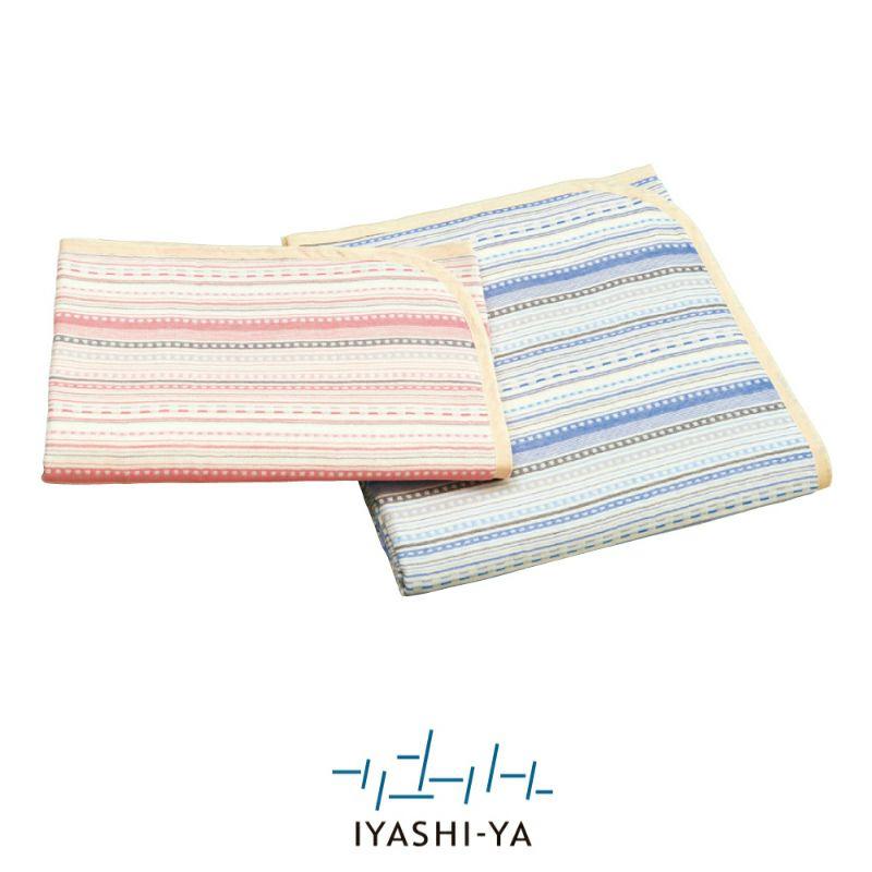[イヤシヤ]6重織ガーゼハーフケット/IY-1805 (ハーフ)140 x100cm ピンク・ブルー