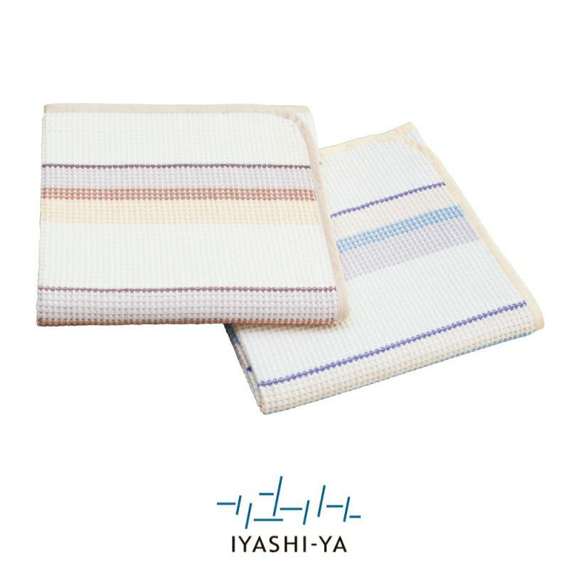 [イヤシヤ]麻混ワッフルガーゼケット/IY-1807 (シングル)約140 x190cm ピンク・ブルー
