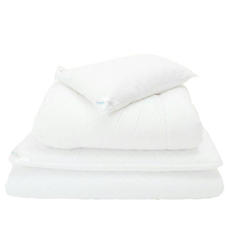 [SNフレッシュプロ]2枚合わせ掛け布団・ノンキルト敷き布団・枕セット シングル ホワイト
