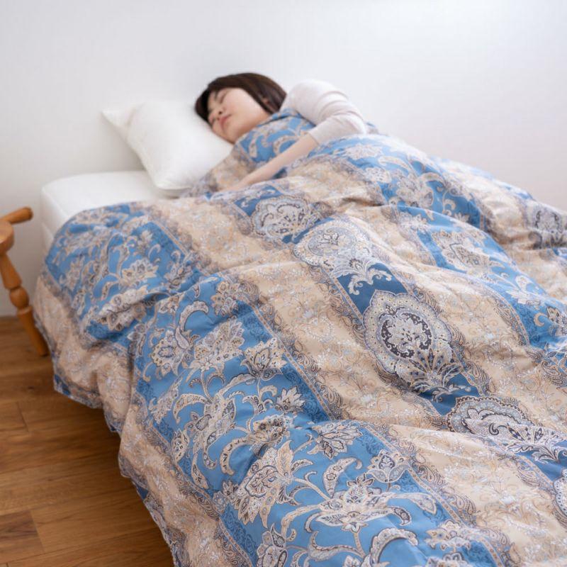 ウォッシャブル羽毛肌掛け布団 カナディアンナチュラルダウン ホワイトダック93% 0.4kg (ダブル)190×210㎝ ブルー