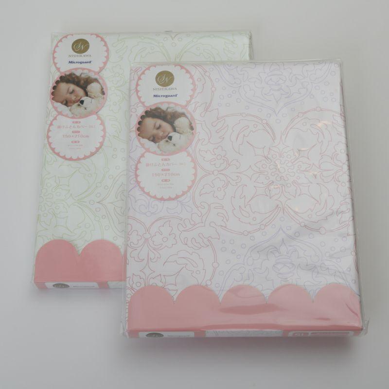 [ミクロガード][送料無料]掛け布団カバー(ダブルロング)パウダーフラワー ピンク・グリーン