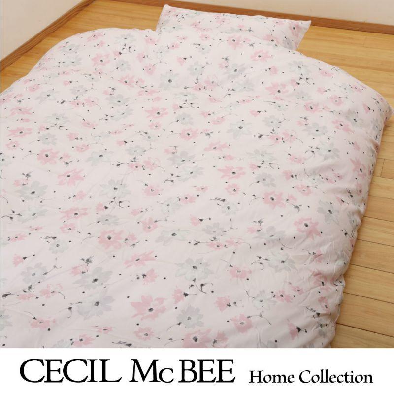 CECIL McBEE 敷き布団タイプカバー3点セット ドットフラワー(シングル)ピンク・ブルー