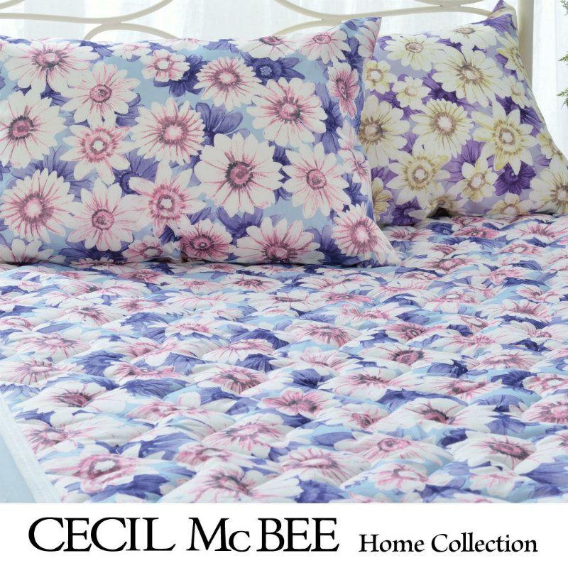 CECIL McBEE 敷きパッド マーガレット(シングル)ブルー・パープル
