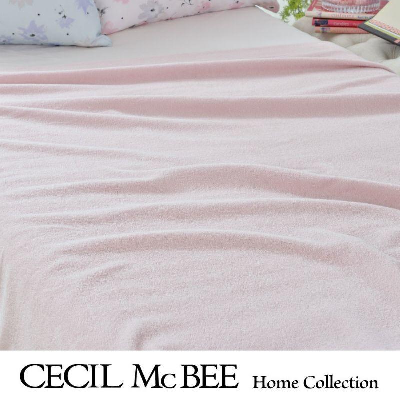 CECIL McBEE タオルケット ソリッド(シングル)ピンク・パープル
