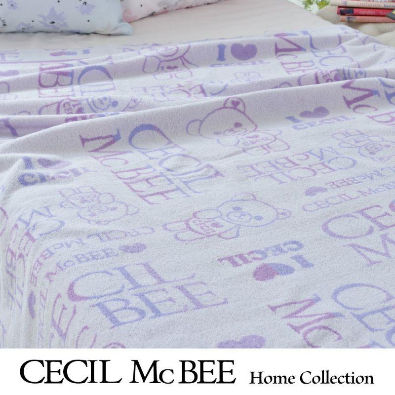 CECIL McBEE ハーフケット140×100cm セシルベア(ハーフサイズ)ピンク・パープル