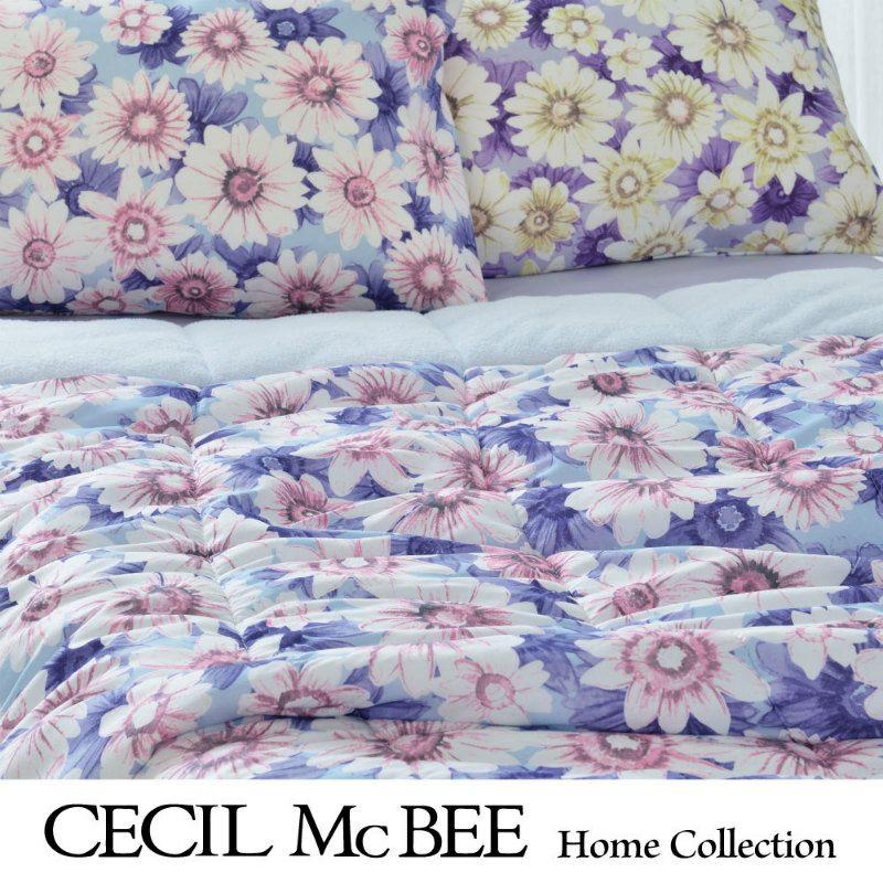 CECIL McBEE キルトケット マーガレット(シングル)ブルー・パープル