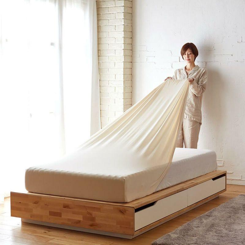[スヤラボ]マルチニットシーツ シングルサイズ用 ピンク・ベージュ・ブルー
