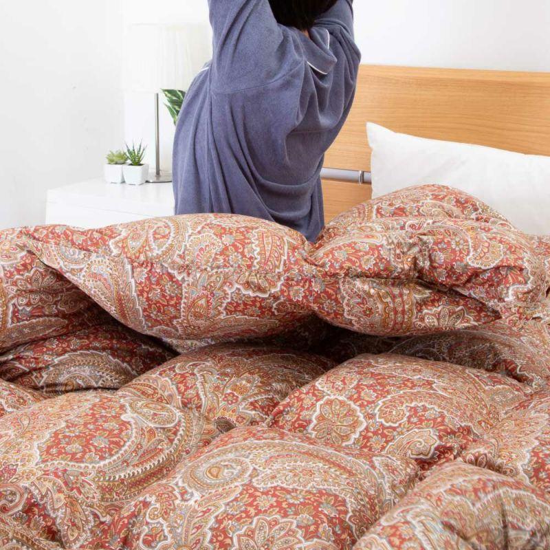 [CUORE] 羽毛布団 ポーランドルベルスキェ産ホワイトマザーグース95% 1.2㎏/EC6902(シングル)150×210cm レッド・ブルー