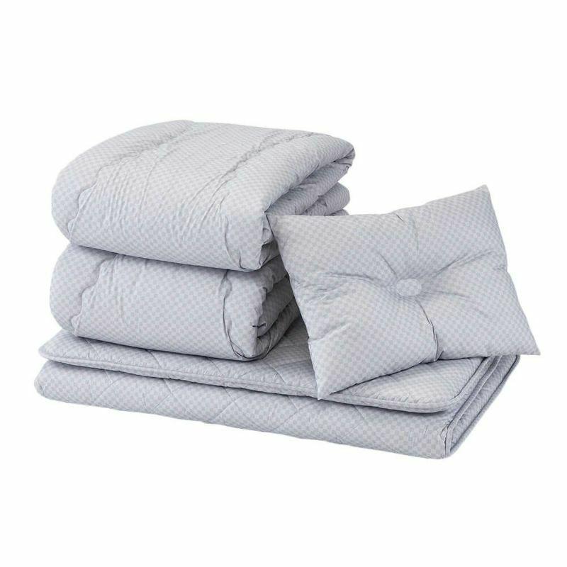 洗える 寝具7点(軽量掛けふとん・超軽量掛けふとん・敷きふとん・まくら・カバー3点)セット シングル KOLMIO ベージュ・ネイビー・グレー